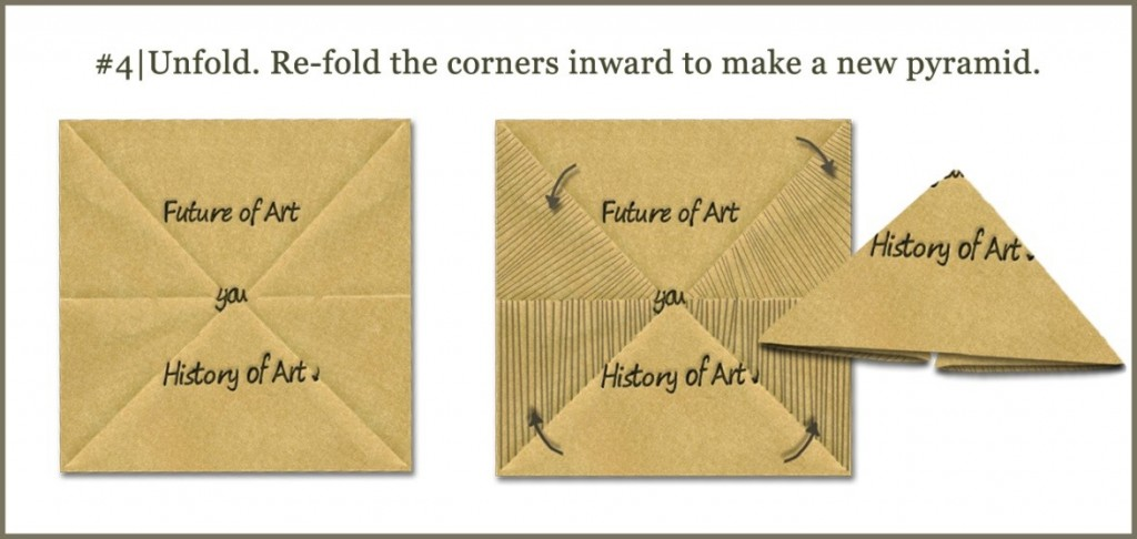 Unfold. Re-fold the corners inward to make a new pyramid.