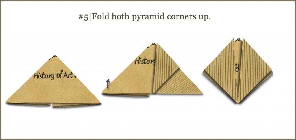 Fold both pyramid corners up.